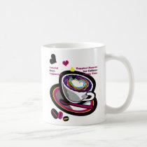 illustration, drink, coffee, bererages, art, graphic, design, heart, pop, brown, funny, humor, cute, break, caffeine, illustrations, Mug with custom graphic design