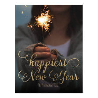Happiest New Year gold modern typography photo Postcard