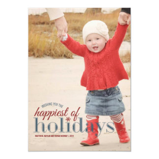Happiest of Holidays | Holiday Photo Greeting 5x7 Paper Invitation Card