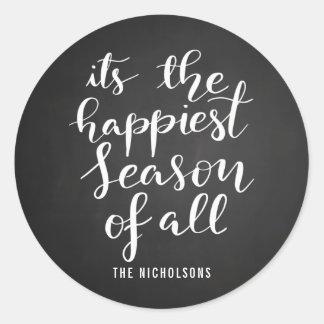 Happiest Season   Handwritten Script Holiday Classic Round Sticker