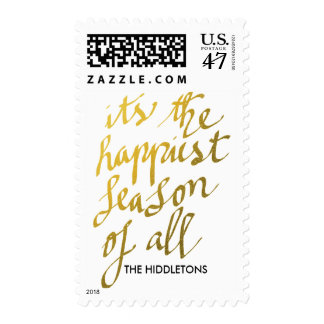 Happiest Season Of All Gold Script Holiday Postage