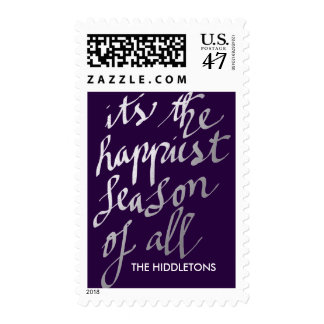 Happiest Season Of All Silver Script Holiday Stamp