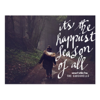Happiest Season Of All Typography Holiday Photo Postcard