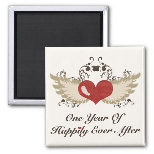 Happily Ever After 1st Anniversary Wedding Magnet