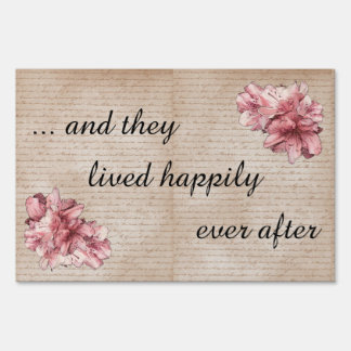 """Happily Ever After"" Aged Letter Pink Flower Sign"