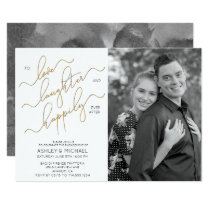 Happily Ever After BW Photo Engagement Party Invitation