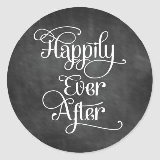 Happily Ever After Chalkboard Classic Round Sticker