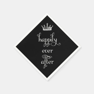 Happily Ever After Crown Black Napkins