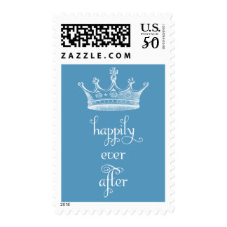 Happily Ever After Crown Blue Wedding Stamp