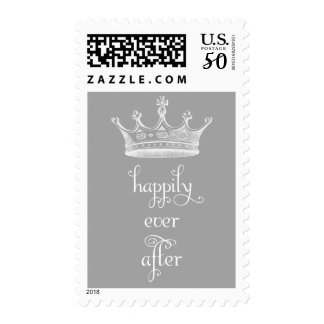 Happily Ever After Crown Gray Wedding Stamp