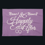 """Happily Ever After custom hand towels<br><div class=""""desc"""">Change the text fields to what you want. You can also change the fonts and their sizes and colors by using the &quot;Customize it&quot; function, as well as add more text fields if you wish. Furthermore, you can change (edit) the background color of this item to whatever you want. See...</div>"""