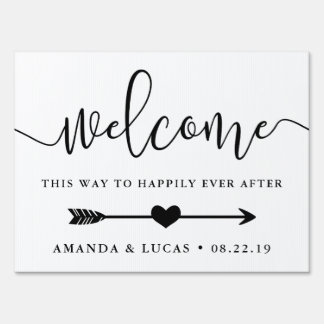 Happily Ever After | Directional Wedding Welcome Yard Sign