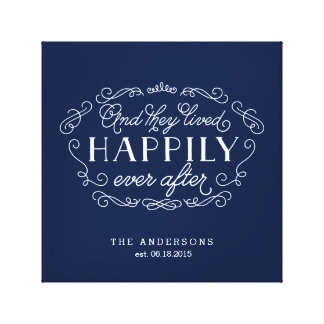 Happily Ever After Family Name Typographic Art Canvas Print