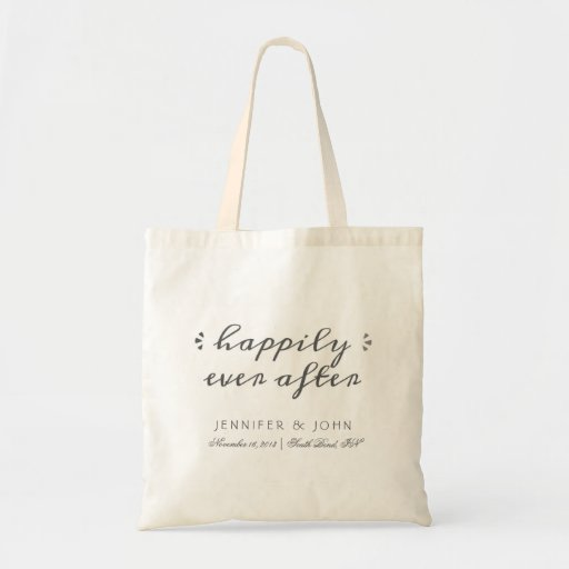 Happily Ever After Favor or Welcome Tote Dark Gray Bag