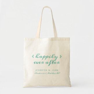 Happily Ever After Favor or Welcome Tote in Teal Budget Tote Bag