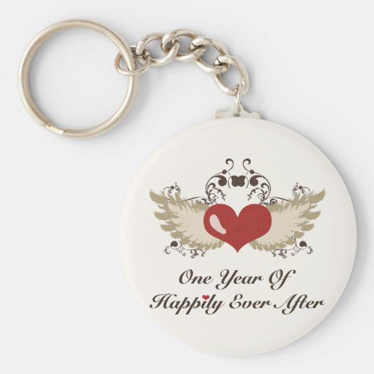 Happily Ever After First Anniversary Key Chain