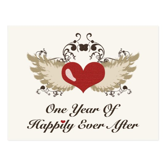 Happily Ever After First Year Anniversary Postcard
