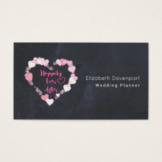 Happily Ever After Glittery Pink Hearts Business Card