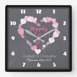 Happily Ever After Glittery Pink Hearts Square Wall Clock