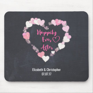 Happily Ever After Glittery Pink Hearts Wedding Mouse Pad