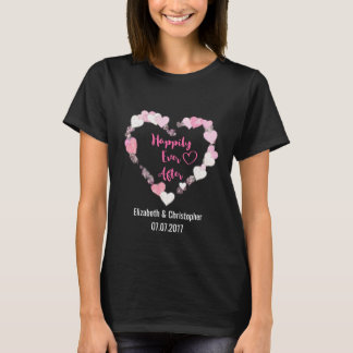 Happily Ever After Glittery Pink Hearts Wedding T-Shirt