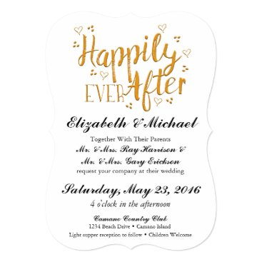ericksondesigns Happily Ever After Gold Wedding Invitation