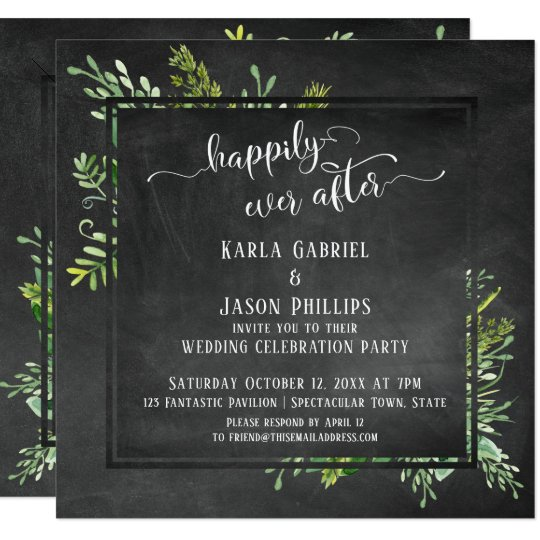 Hily Ever After Greenery Bouquet On Chalkboard Invitation