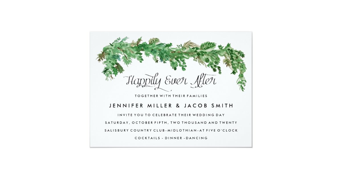 Happily Ever After Wedding Invitations: Happily Ever After Greenery Wedding Invitation