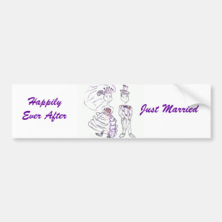 Happily Ever After Just Married Bumper Sticker