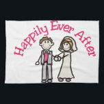 "Happily Ever After Kitchen Towel<br><div class=""desc"">Celebrate with the happy couple on their wedding day.  We&#39;ve got the cutest couple ever on their wedding day.  Fantastic stick people design for invitations or reception decoration.</div>"