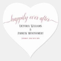 Happily Ever After Modern Rose Gold Script Wedding Heart Sticker