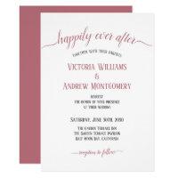 Happily Ever After Modern Rose Gold Script Wedding Invitation
