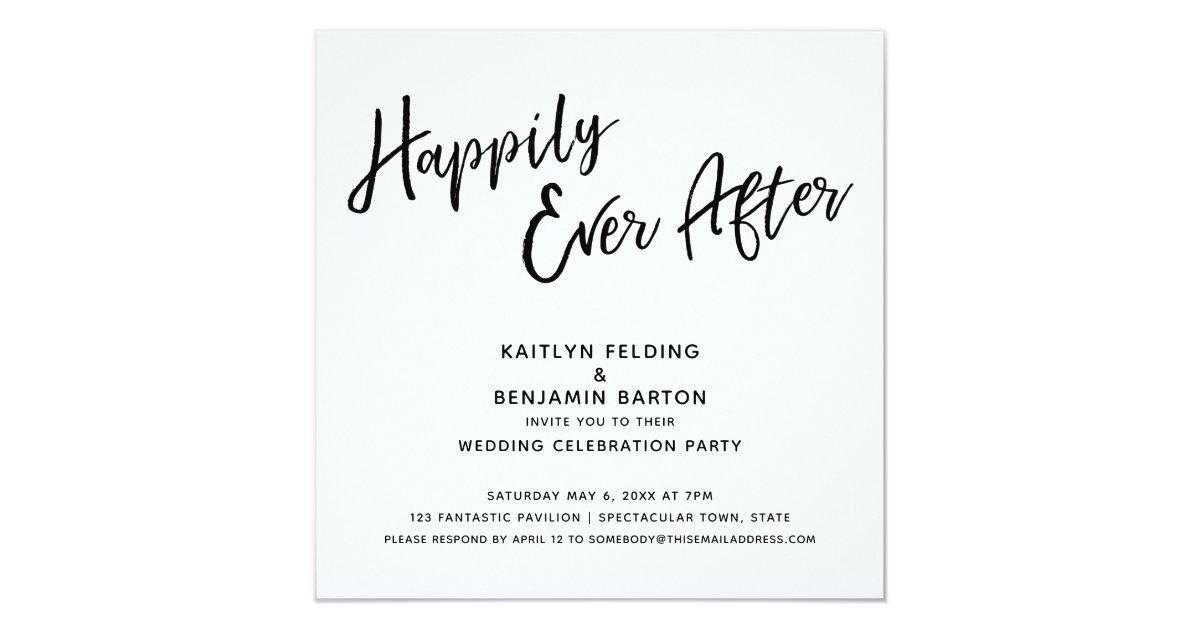 Happily Ever After Modern Script Wedding Reception Invitation Zazzle Com