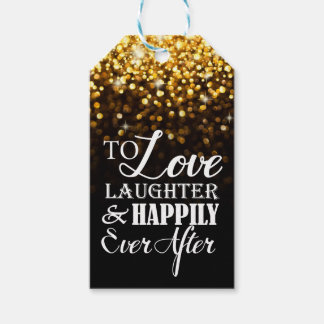 Happily Ever After Monogram Hollywood Glam Wedding Gift Tags