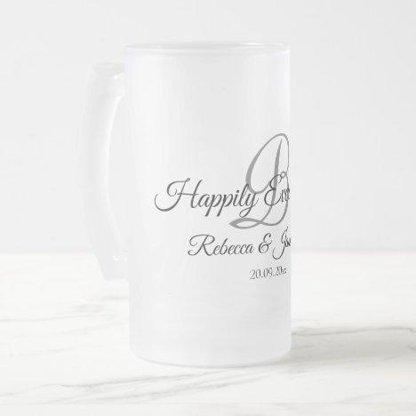 Happily Ever After Monogram Wedding Frosted Glass Beer Mug