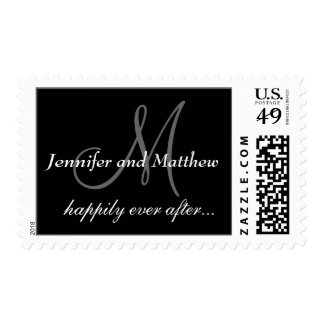 Happily Ever After Monogram Wedding Postage Stamps