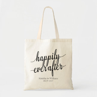 Happily ever after Personalized Wedding Welcome Tote Bag