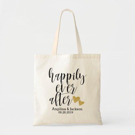 happily ever after personalized wedding welcome tote bag zazzle com