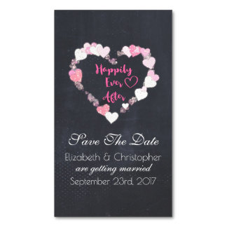 Happily Ever After Pink Hearts Save the Date Business Card Magnet