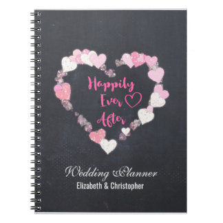 Happily Ever After Pink Hearts Wedding Planner Notebook