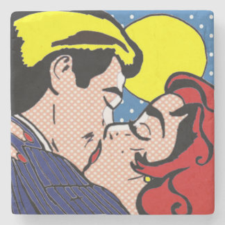 Happily Ever After Pop Art Stone Coaster