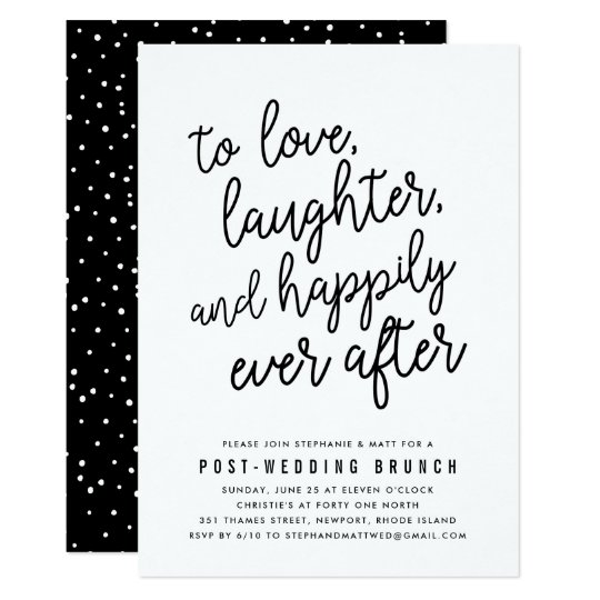 Invitation For Reception After The Wedding: Happily Ever After Post Wedding Brunch Invitation