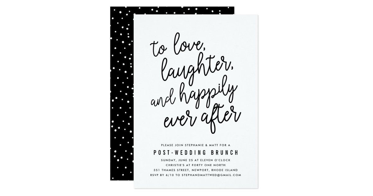 After Wedding Brunch Ideas: Happily Ever After Post Wedding Brunch Invitation