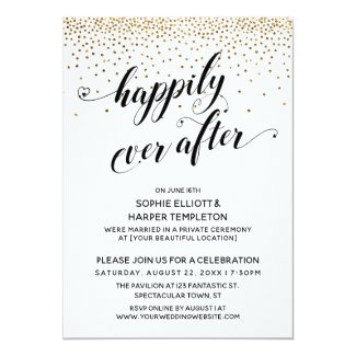 Happily Ever After Reception Only Gold Confetti Invitation