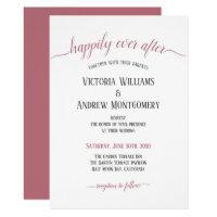 Happily Ever After Rose Gold Script Modern Wedding Invitation