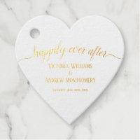 Happily Ever After Rose Gold Script Wedding Foil Foil Favor Tags