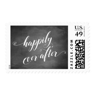 Happily Ever After Script w/ Hearts & Chalkboard Postage