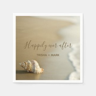 Happily Ever After Seashell on the Beach Wedding Paper Napkin