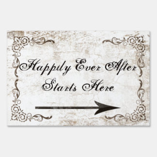 Happily Ever After Starts Here, Vintage Wedding Lawn Sign