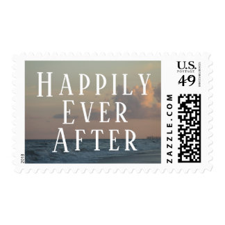 Happily Ever After Typography w/ Beach Dusk Photo Postage